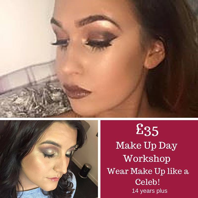 Image of two young women wearing professionally applied makeup and text promoting a makeup workshop