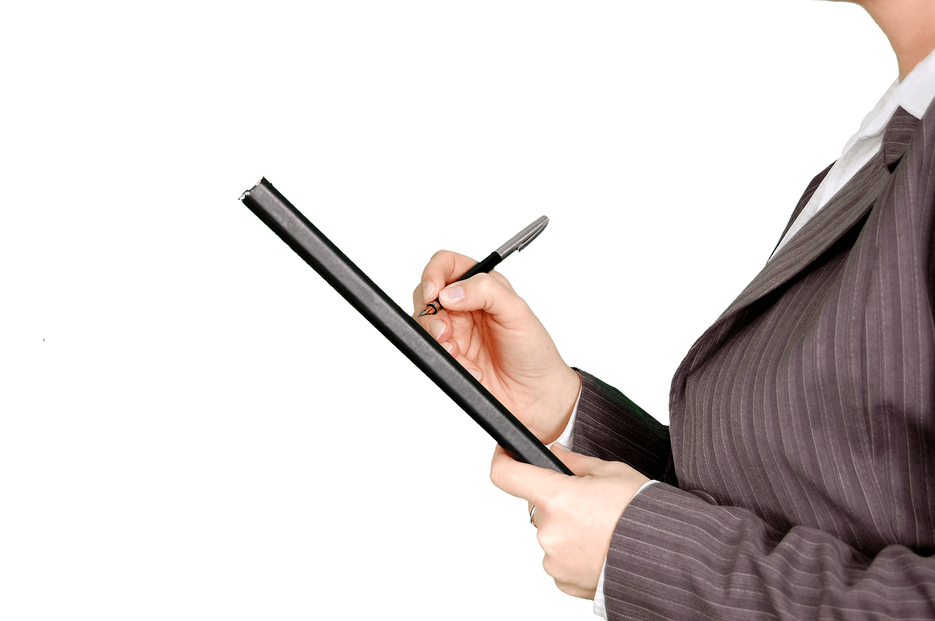 Person holding a clipboard and pen
