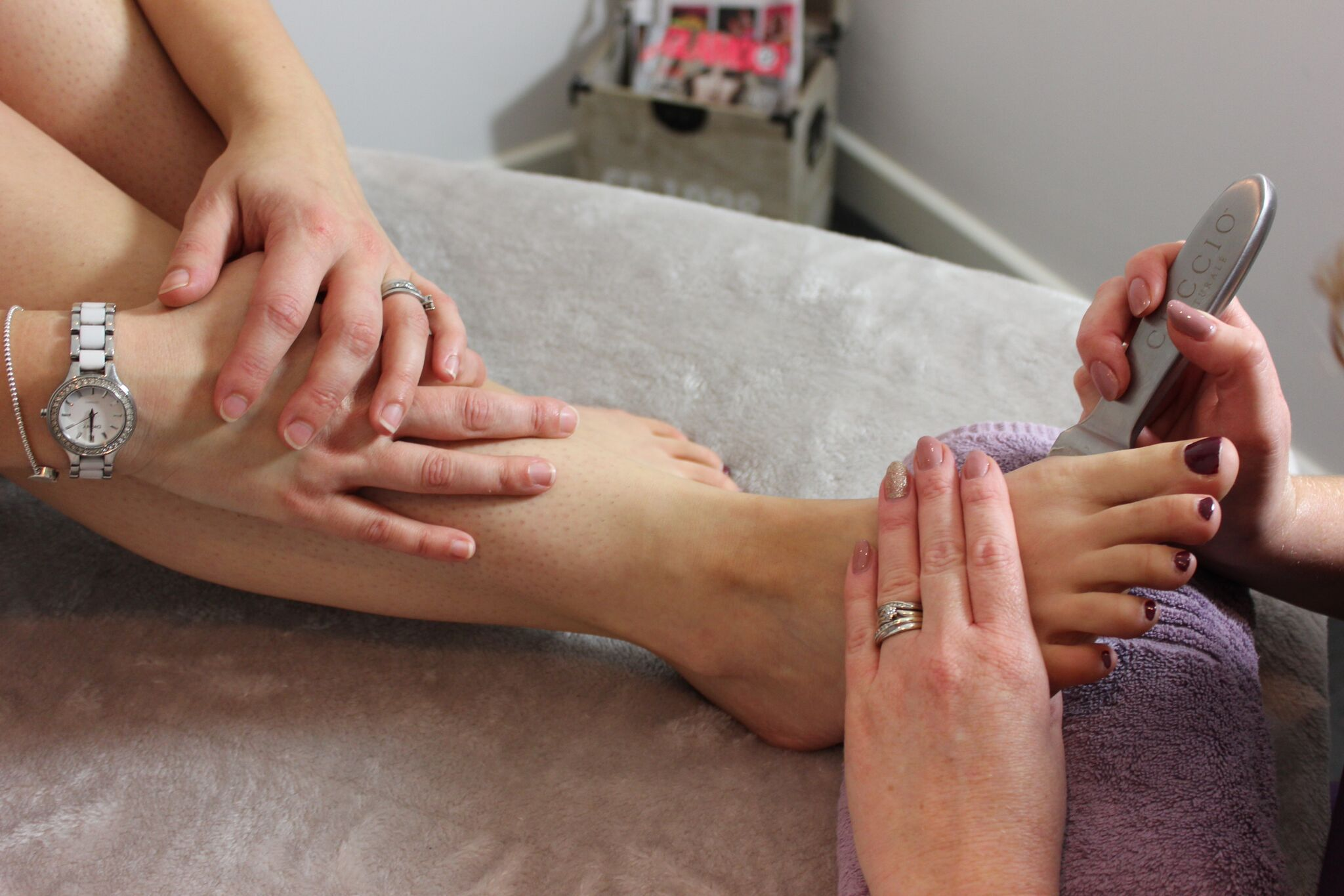 Close up shot of a pedicure being undertaken
