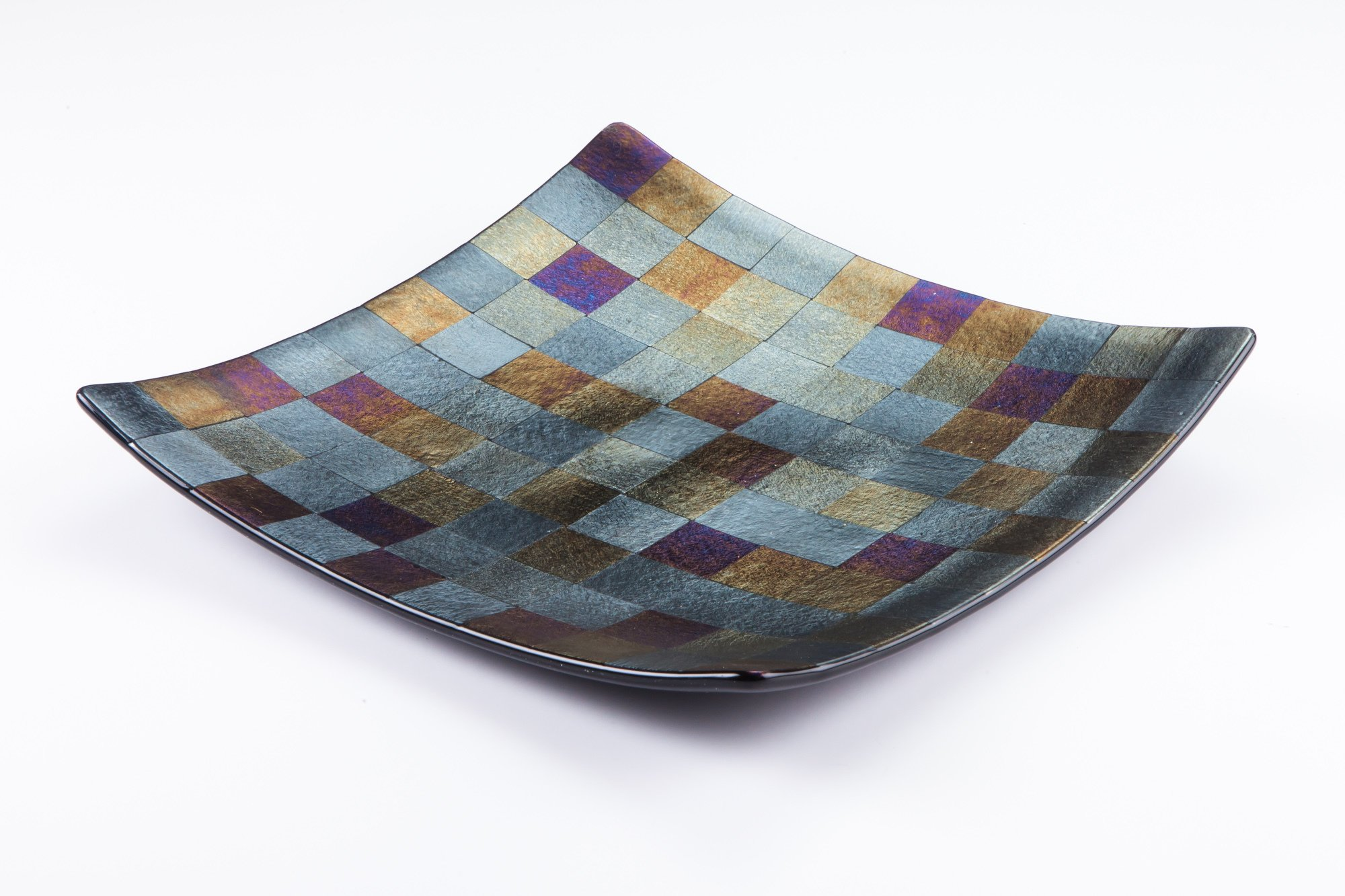 glass plate with unique combination of colours