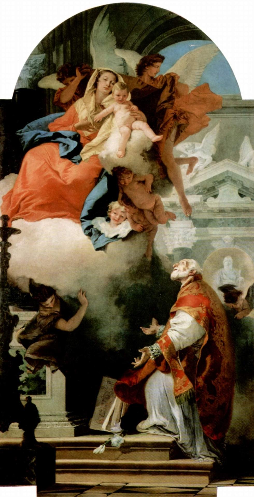 Apparizione della Madonna col Bambino a San Filippo Neri è un dipinto autografo di Gianbattista Tiepolo.jpeg