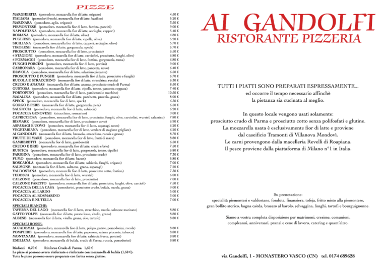 menu alla carta Ristorante Ai Gandolfi