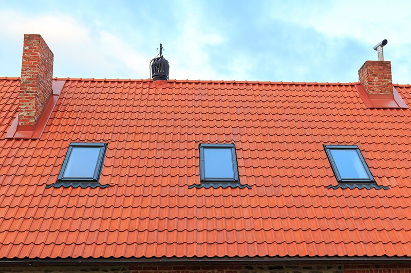 Skylight on a tiled roof