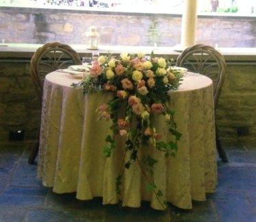 tavolo degli sposi, fiori, addobbi fioriti