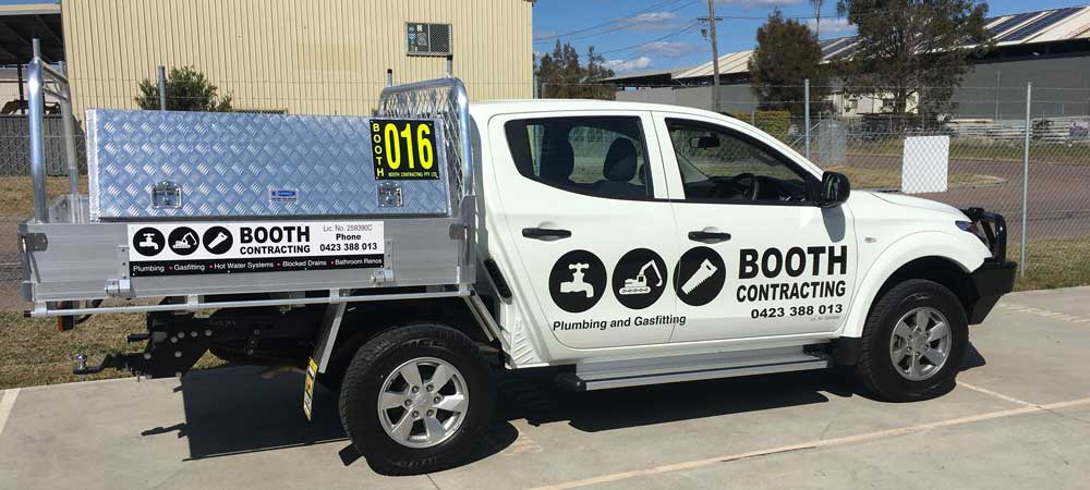 booth contracting work truck