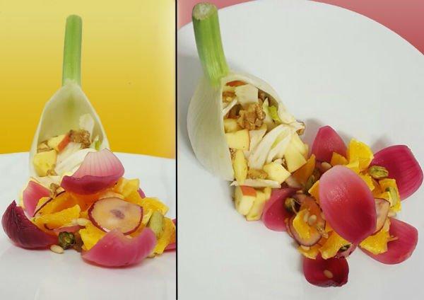 un finocchio ripieno alla frutta fresca