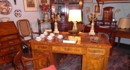 scrivania radica stile Luigi XVI desk thonet candelabri
