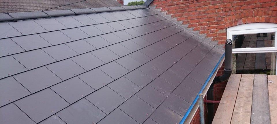 A grey slate roof