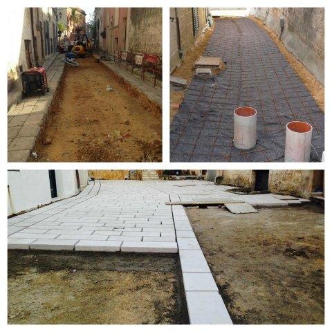 rimozione di manto bituminoso e ripavimentazione in nuove basole di pietra calcarea locale