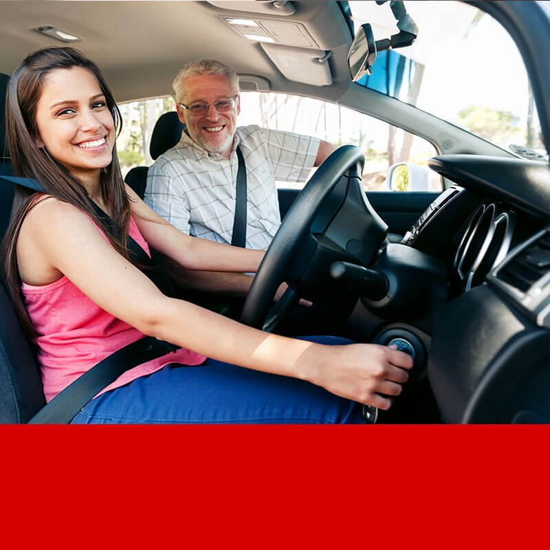 driving instructor and student