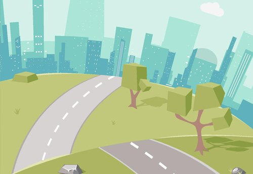 graphic of road and trees