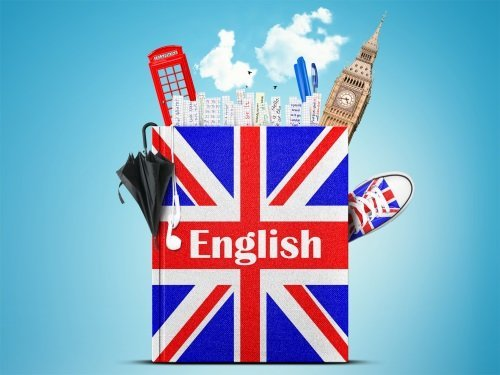 libro di inglese e simboli del regno unito, come big ben, ombrello, cabina telefonica