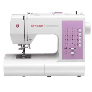 una macchina da cucire bianca e viola della marca