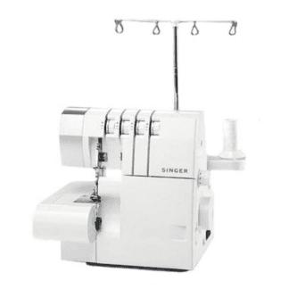 una macchina da cucire SInger e dietro un supporto porta fili