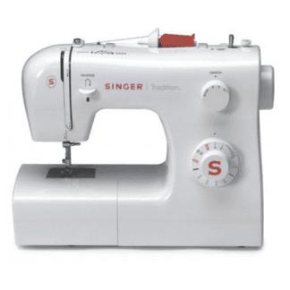 una macchina da cucire della marca singer bianca e rossa