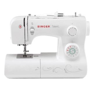 una macchina da cucire bianca della marca Singer
