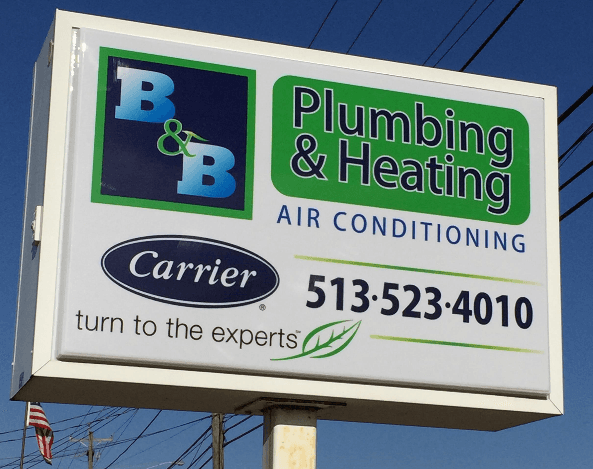 B&B Plumbing & Heating business sign in Oxford