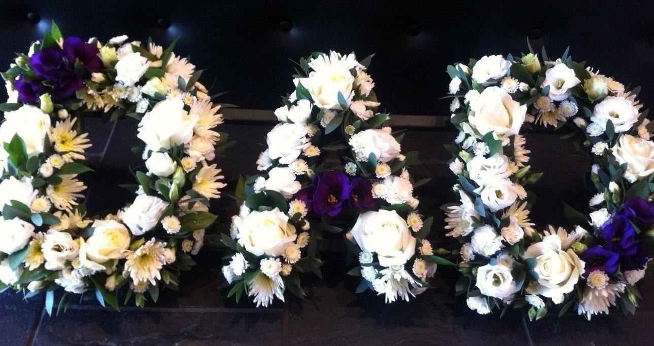 D A D lettered flowers