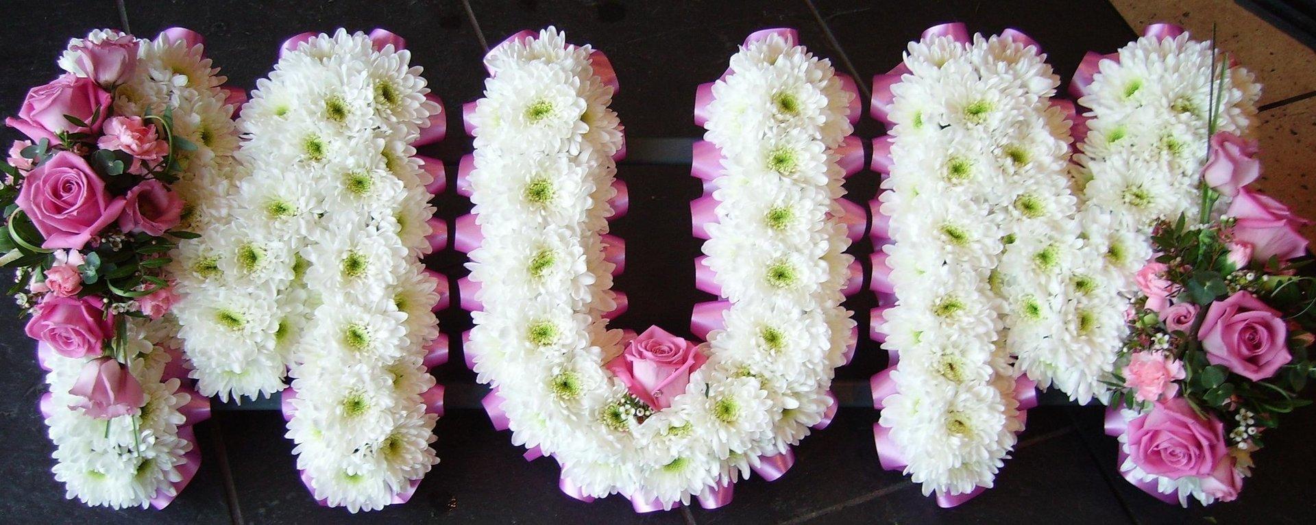 M U M lettered flowers