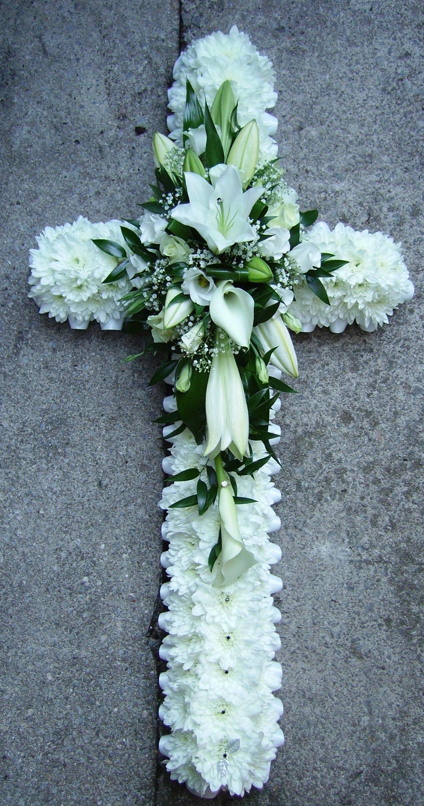 flowers in cross shape