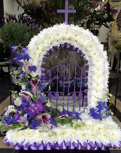 Beautifully arranged funeral flowers