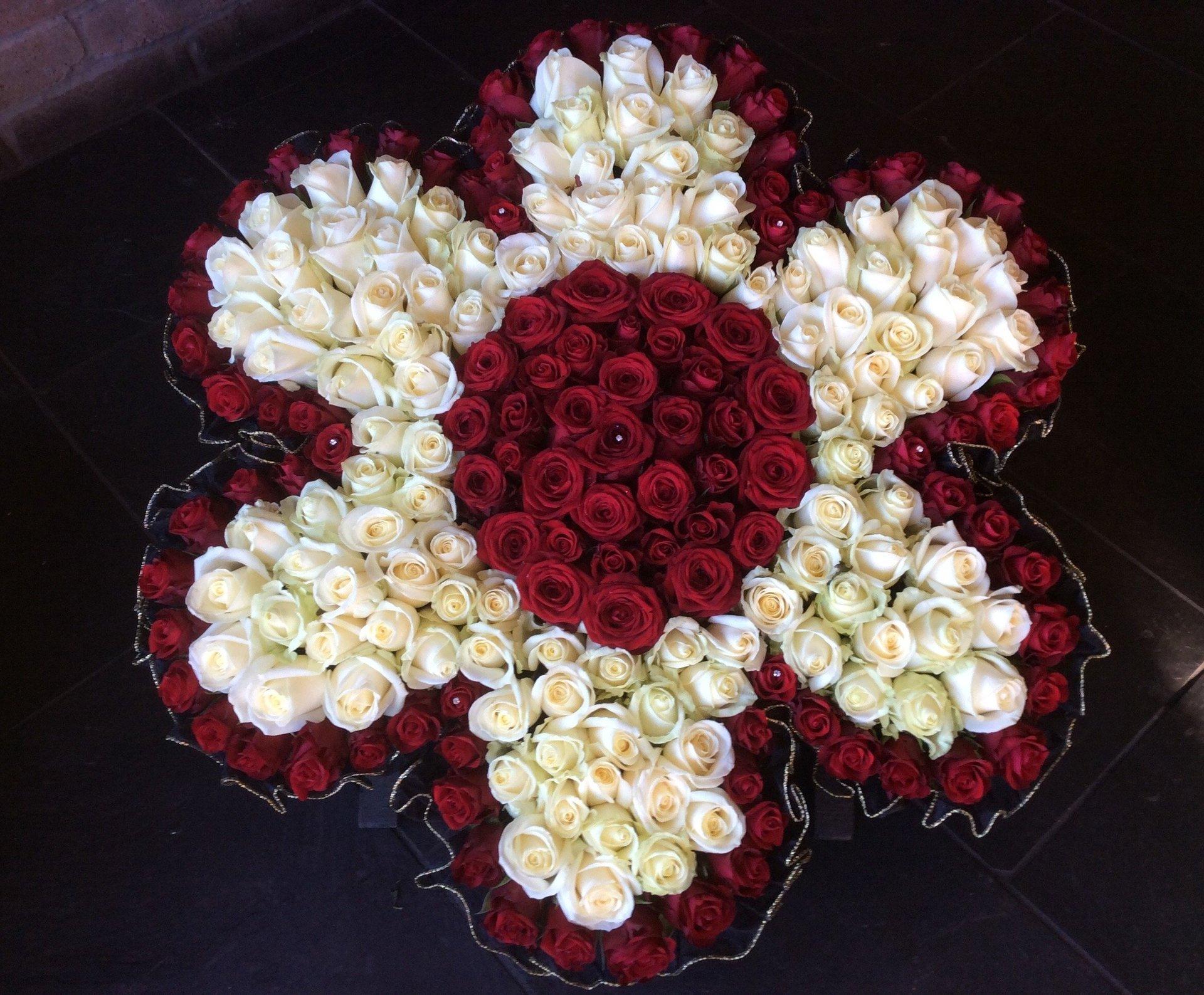 flowers arranged in flower shape
