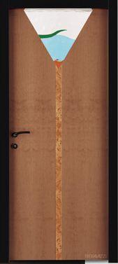 una porta marrone con il disegno di una lampada da terra
