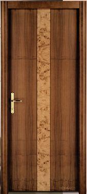una porta marrone con una riga al centro marrone chiaro