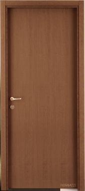 una porta in legno lucido scuro