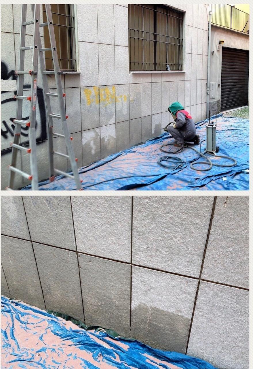 pulizia facciata e rimozione graffiti