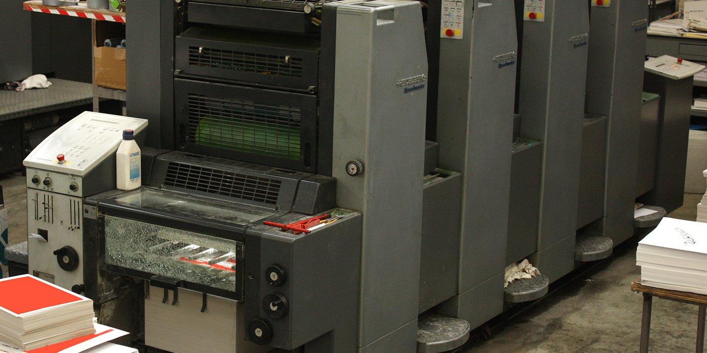 Dettaglio di uno dei macchinari per la stampa
