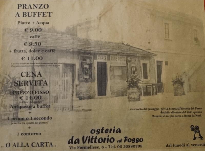 Tovaglietta dell'Osteria Al Fosso a Roma
