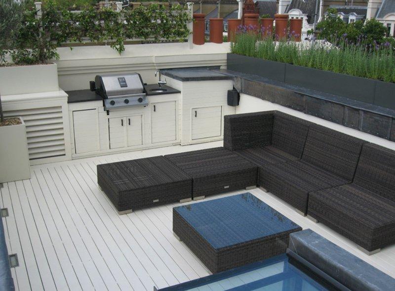 Roof terrace garden design in South Kensington