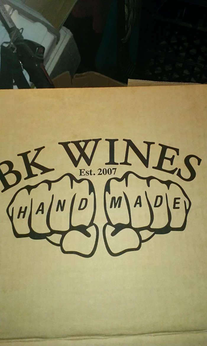 BK Wines hand made knuckles sign