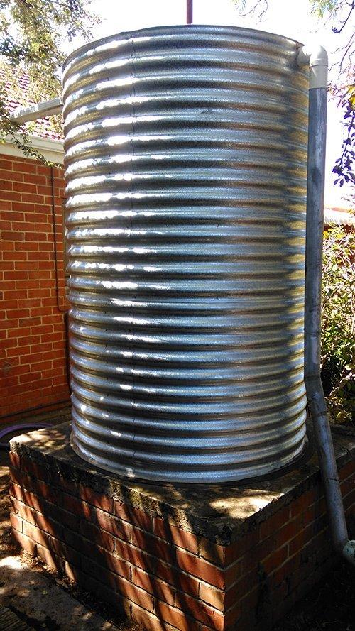 cylinder metal tank on platform