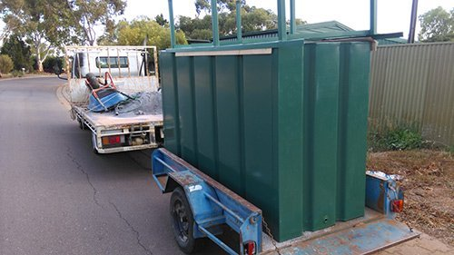 steel container on small trailer
