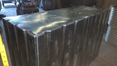 top corner view of metal fabricated container