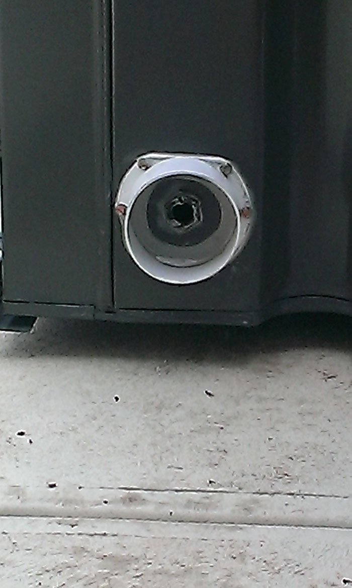 close up of black tanks piping connector