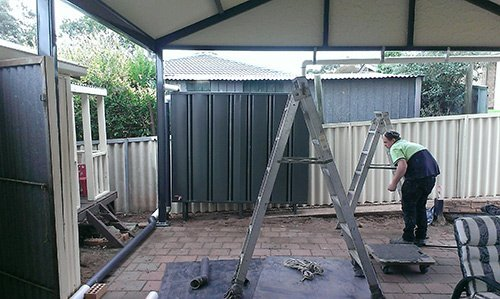 installation scene of custom containers on patio