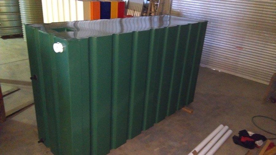 side view of green modular slim tank