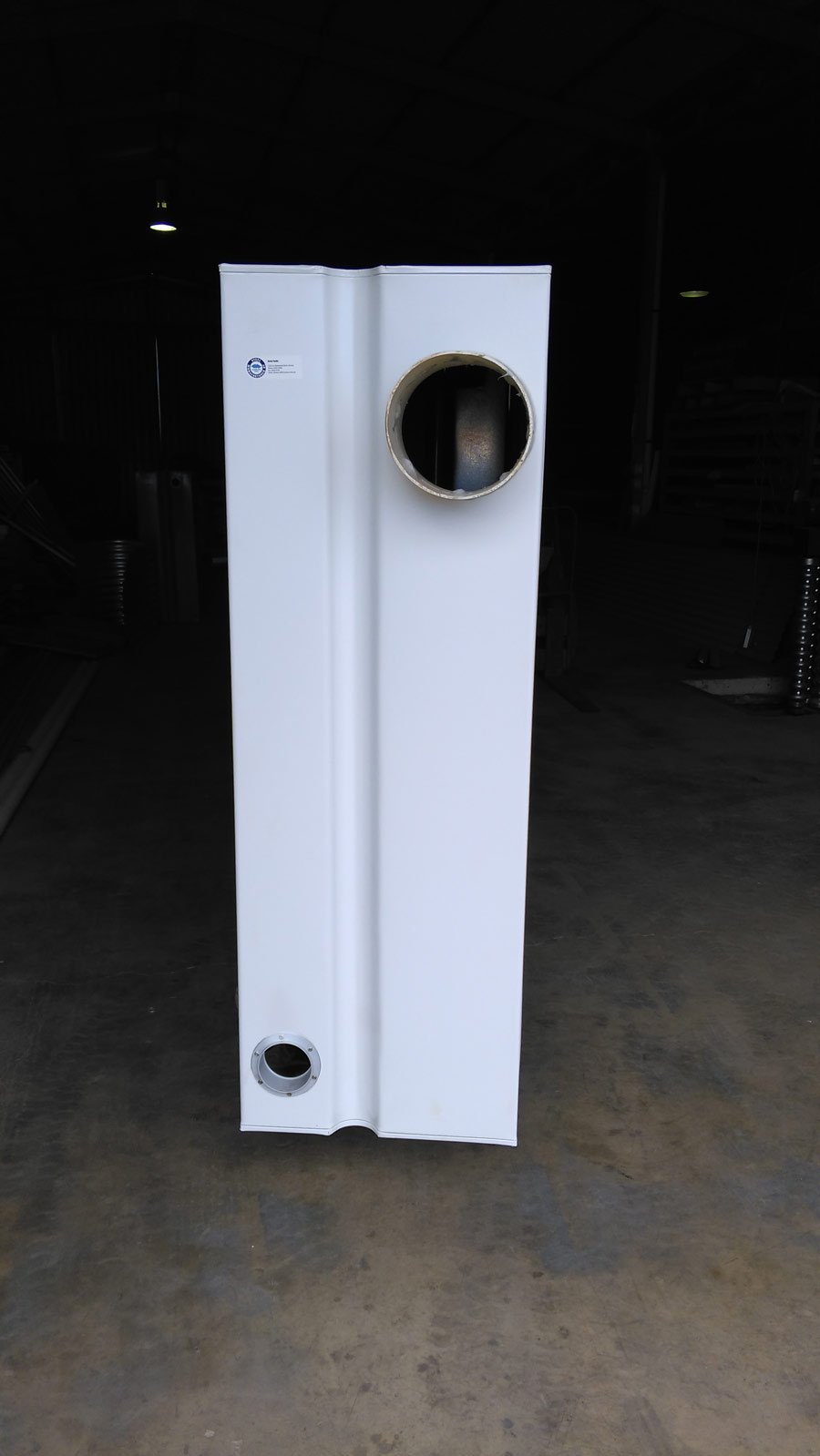 side view of white modular slim tank