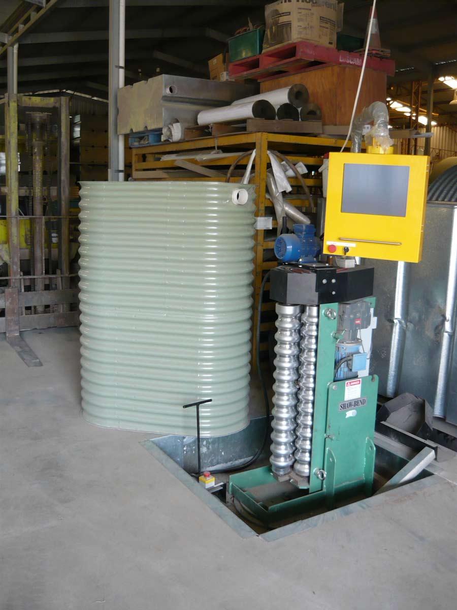 corrugated ultra slim tank in warehouse