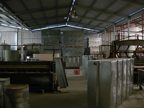 warehouse room with metal boxes