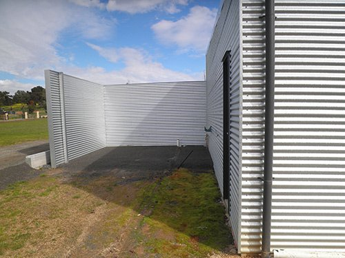 rectangular metal sheeting and blue sky
