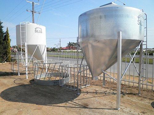 white and silver silo