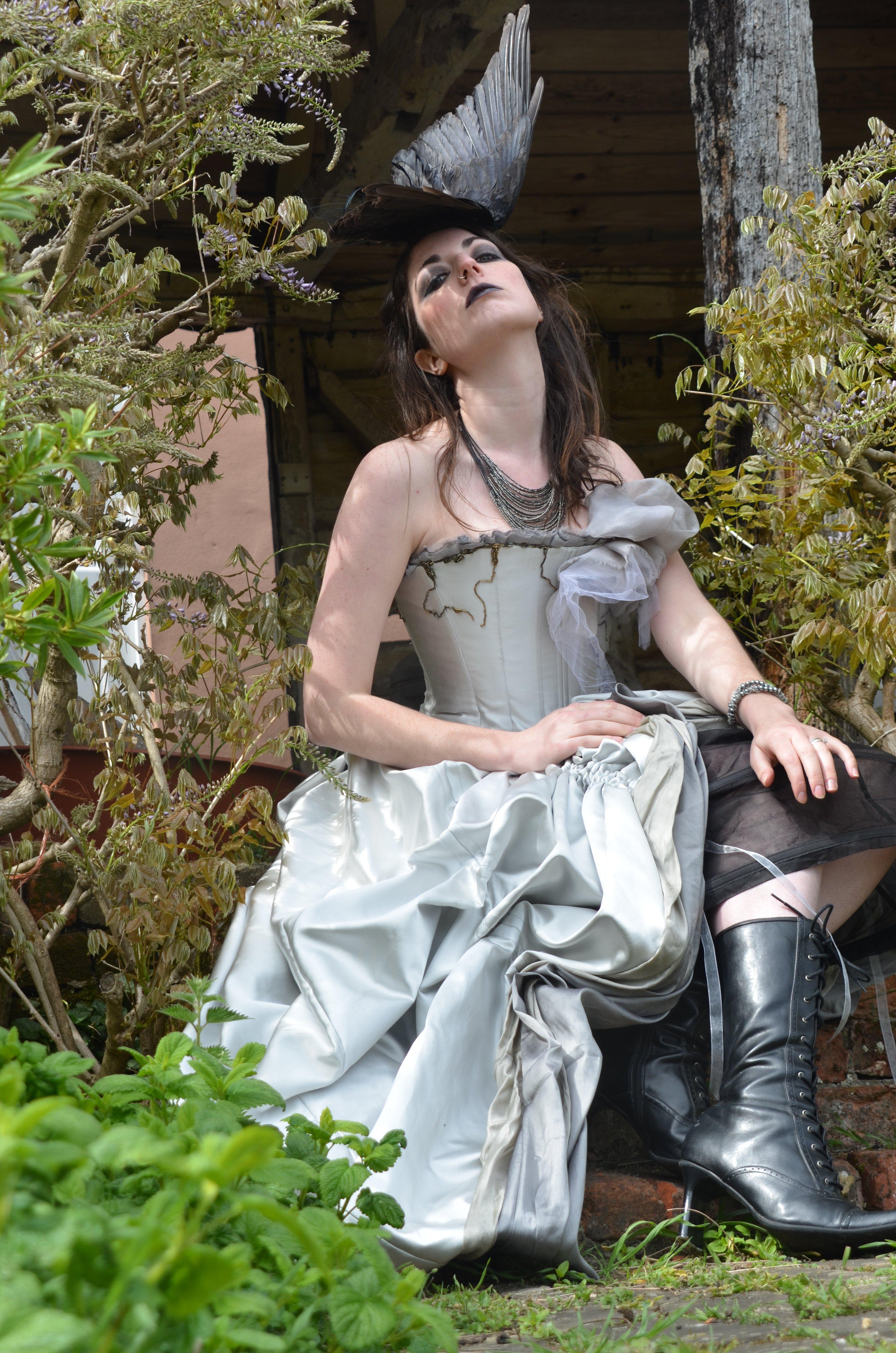 Silver grey satin gothic alternative wedding dress