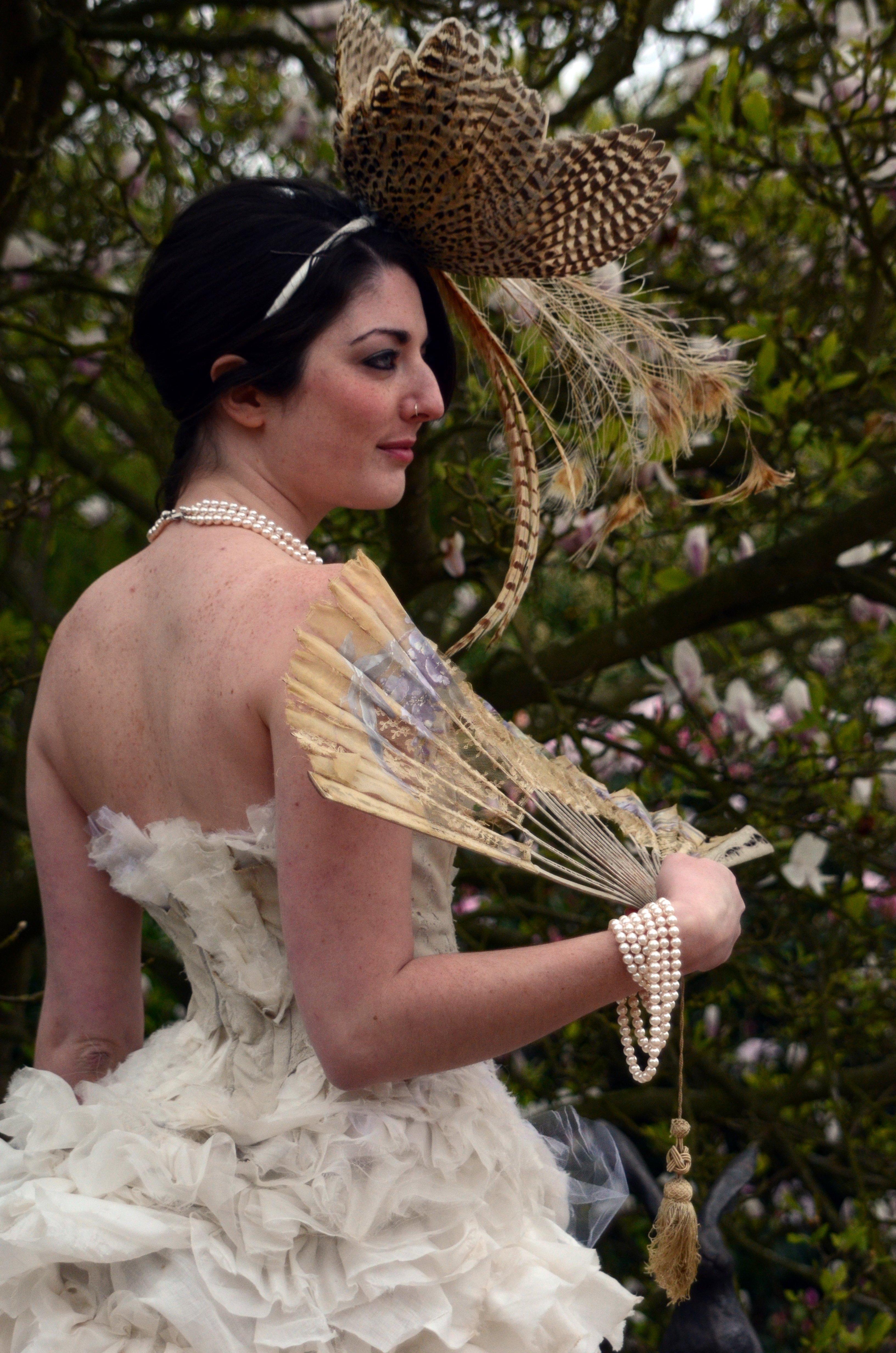 Victorian steampunk bustle wedding dress. ruffled silk.