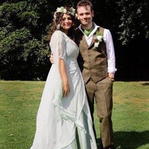 Silk dupion Maid marion inspired green wedding dress, Woodland wedding