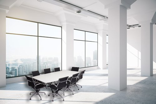 boardroom table in white room