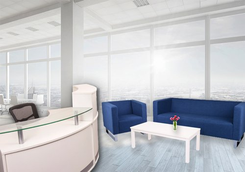 office receptionist area with blue chair and sofa